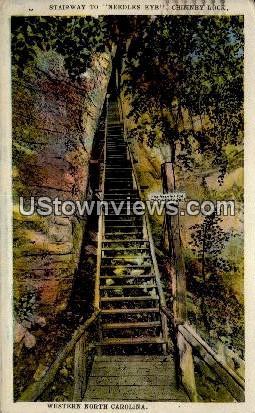 Stairway to Needles Eye, Chimney Rock - Asheville, North Carolina NC Postcard