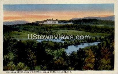 Lake and French Broad River - Biltmore, North Carolina NC Postcard