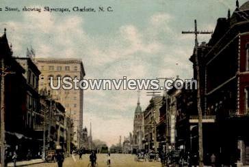 Tryon Street, Showing Skyscraper - Charlotte, North Carolina NC Postcard
