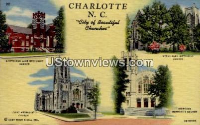 City of Beautiful Churches - Charlotte, North Carolina NC Postcard