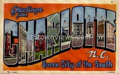 Queen City of the South - Charlotte, North Carolina NC Postcard