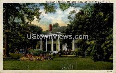 A Typical Colonial Home - Elizabeth City, North Carolina NC Postcard