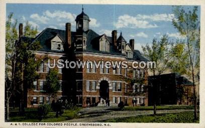 A. & T. College for Colored People - Greensboro, North Carolina NC Postcard