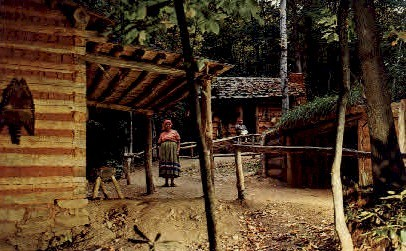 A Scene in Ocanaluftee Indian Village - Cherokee Indian Reservation, North Carolina NC Postcard