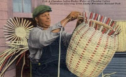A Cherokee Indian Basket Maker - Cherokee Indian Reservation, North Carolina NC Postcard