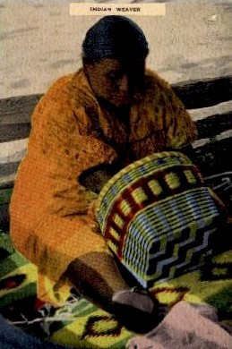 Indian Basket Weaving - Misc, North Carolina NC Postcard