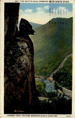 Chimney Rock Section - Misc, North Carolina NC Postcard