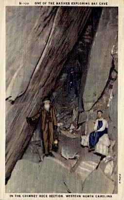 Natives Exploring Bat Cave - Misc, North Carolina NC Postcard