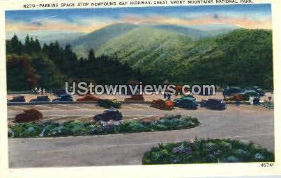 Parking Space atop Gap Highway - Great Smoky Mountains National Park, North Carolina NC Postcard
