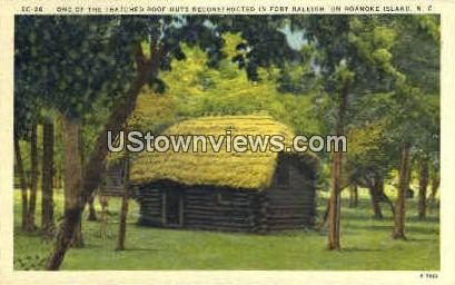 Thatched Roof Hut - Roanoke Island, North Carolina NC Postcard