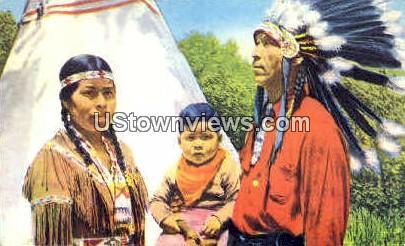 Indian Family - Cherokee, North Carolina NC Postcard