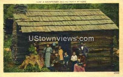 A Mountaineer and his Family at Home - Misc, North Carolina NC Postcard