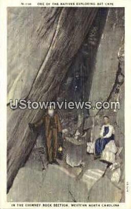 Native Exploring Bat Cave - Misc, North Carolina NC Postcard