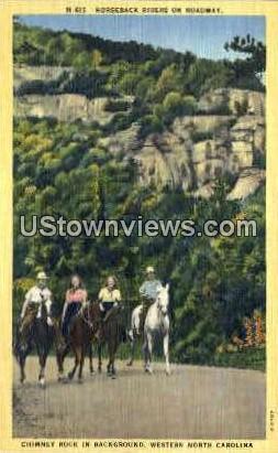 Horseback Rides on Roadway - Misc, North Carolina NC Postcard