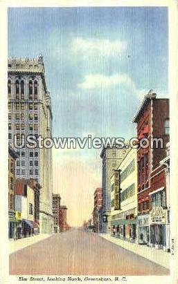 Elm Street Looking North - Greensboro, North Carolina NC Postcard