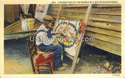 A Hooked Rug in the Making - Misc, North Carolina NC Postcard