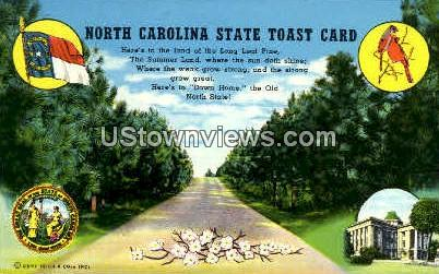 State Toast Card - Misc, North Carolina NC Postcard