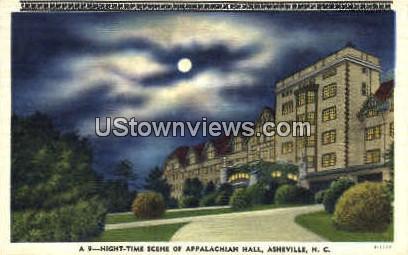 Night-Time Scene of Appalachian Hall - Asheville, North Carolina NC Postcard