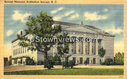 Raleigh Memorial Auditorium - North Carolina NC Postcard