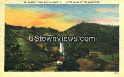 Railway Train on Highway Trestle - Misc, North Carolina NC Postcard