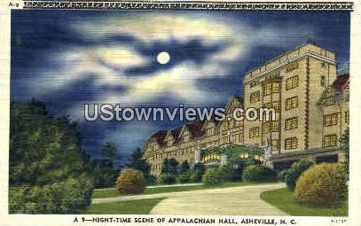 Nighttime Scene of Appalachian Hall - Asheville, North Carolina NC Postcard
