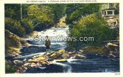 Trout Fishing - Misc, North Carolina NC Postcard