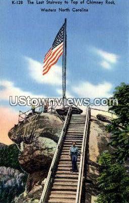 Last Stairway - Chimney Rock, North Carolina NC Postcard