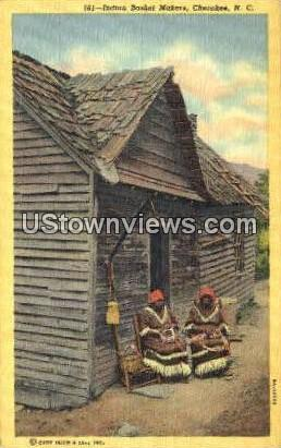 Indian Basket Makers - Cherokee, North Carolina NC Postcard