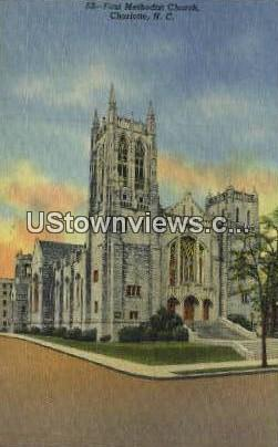First Methodist Church - Charlotte, North Carolina NC Postcard