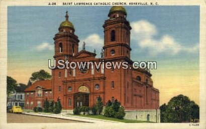 St Lawrence Catholic Church - Asheville, North Carolina NC Postcard