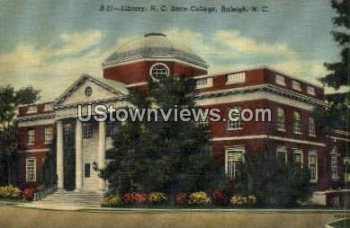 Library, NC State College - Raleigh, North Carolina NC Postcard