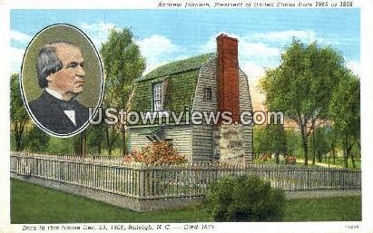 Andrew Johnson - Raleigh, North Carolina NC Postcard