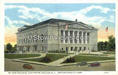 Raleigh Memorial Aud - North Carolina NC Postcard