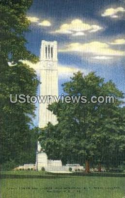 Clock Tower, War Memorial - Raleigh, North Carolina NC Postcard
