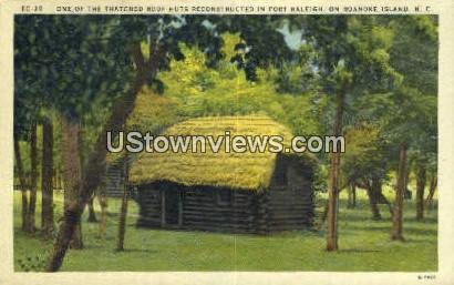 Thatched Roof Huts - Roanoke Island, North Carolina NC Postcard