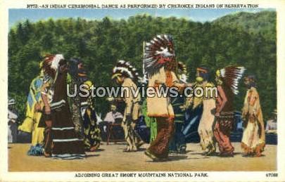 Indian Ceremonial Dance - Great Smoky Mountains National Park, North Carolina NC Postcard