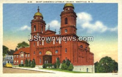 Saint Lawrence Catholic Church - Asheville, North Carolina NC Postcard