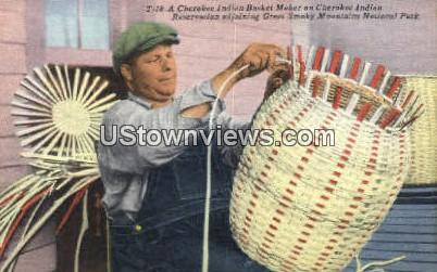Cherokee Indian Basket Maker - Great Smoky Mountains National Park, North Carolina NC Postcard