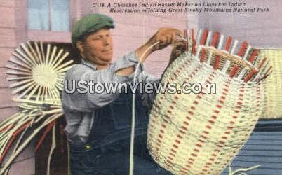 Cherokee Indian Basket - Great Smoky Mountains National Park, North Carolina NC Postcard