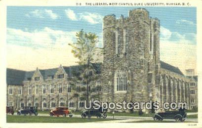 The Library, Duke University - Durham, North Carolina NC Postcard
