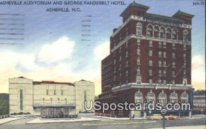 Asheville Auditorium & George Vanderbilt Hotel - North Carolina NC Postcard