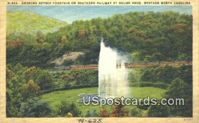 Andrews Geyser Fountain - Western North Carolina Postcards, North Carolina NC Postcard