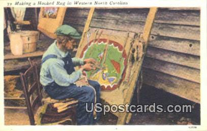 Hooked Rug - Western North Carolina Postcards, North Carolina NC Postcard