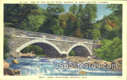 Native Stone Bridge - Great Smoky Mountains National Park, North Carolina NC Postcard