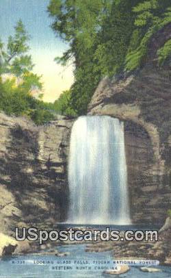 Glass Falls, Pisgah National Forest - Western North Carolina Postcards, North Carolina NC Postcard