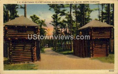 Entrance to Fort Raleigh - Roanoke Island, North Carolina NC Postcard