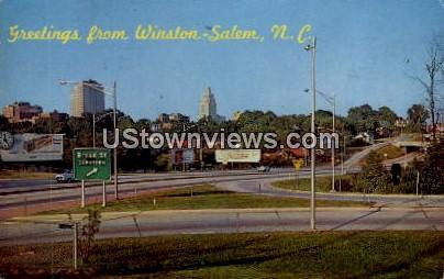 Greetings From - Winston-Salem, North Carolina NC Postcard