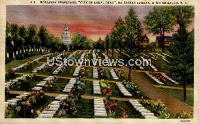Moravian Graveyard - Winston-Salem, North Carolina NC Postcard