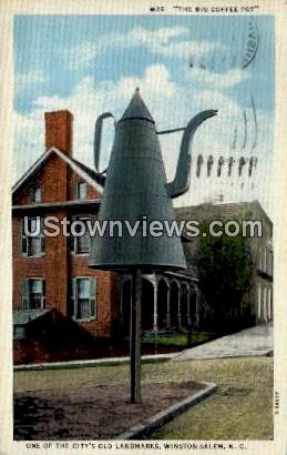 The Big Coffee Pot, One of the Old Land Marks - Winston-Salem, North Carolina NC Postcard