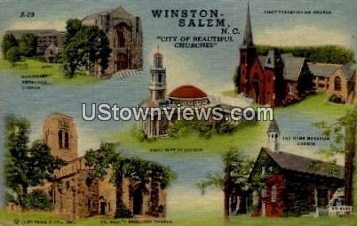 City of Beautiful Churches - Winston-Salem, North Carolina NC Postcard